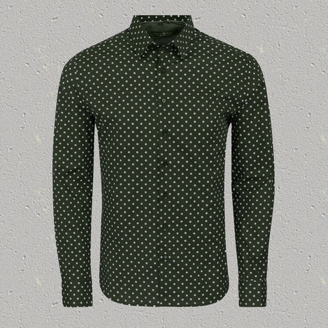 Olive Polka Dot Print Long Sleeve Shirt