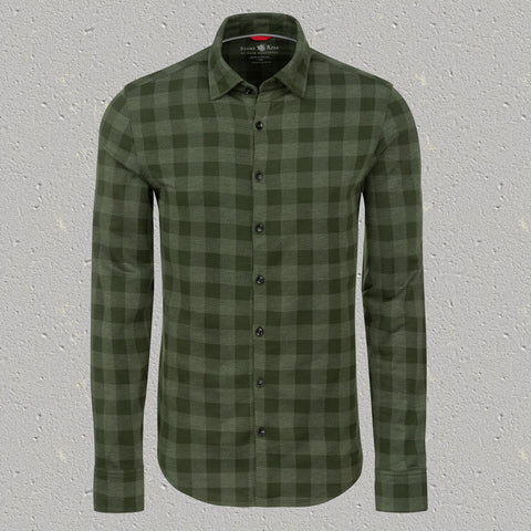 Olive Check Knit Performance Long Sleeve Shirt