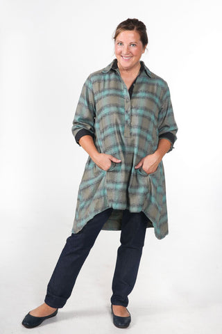JASMINE - Women's Flannel Tunic Dress (Moss)
