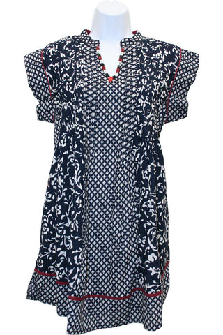 Janet | Women's Print Cap Sleeve Tunic (Indigo) by PUNCH