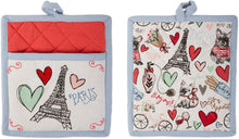 I Love Paris Dish Towel Oven Mitt Set-DII