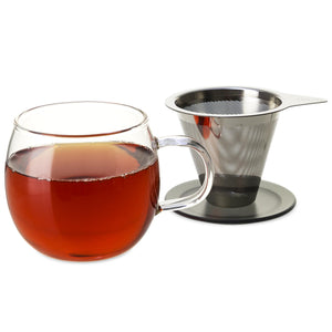 Lucidity Glass Brew-in-Cup with Stainless Infuser & Lid  12 oz