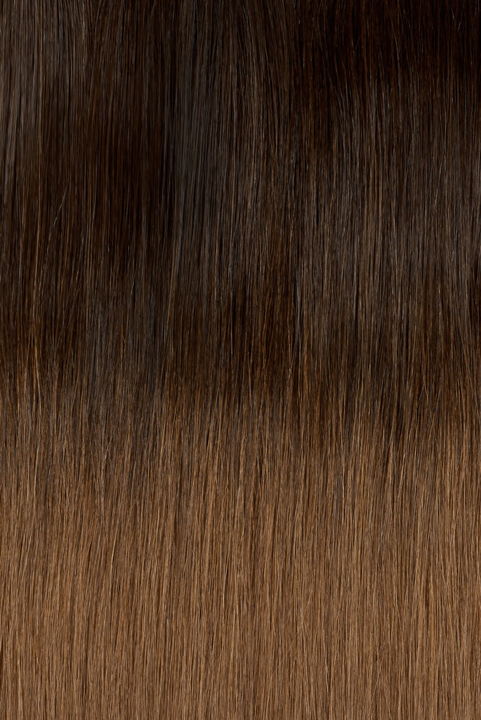 "Ombre - Espresso (#1C) to Caramel Brown (#4) 20"" Fusion"