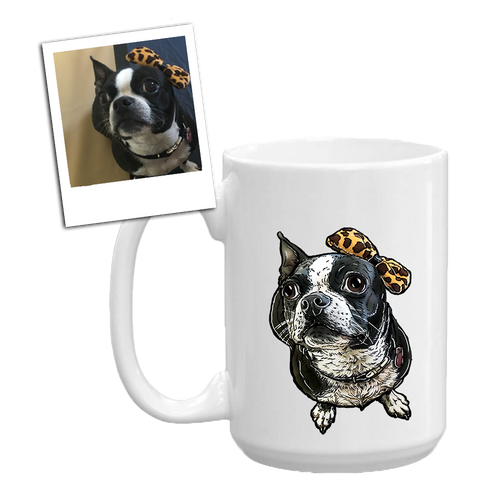 custom illustrated pet coffee mug