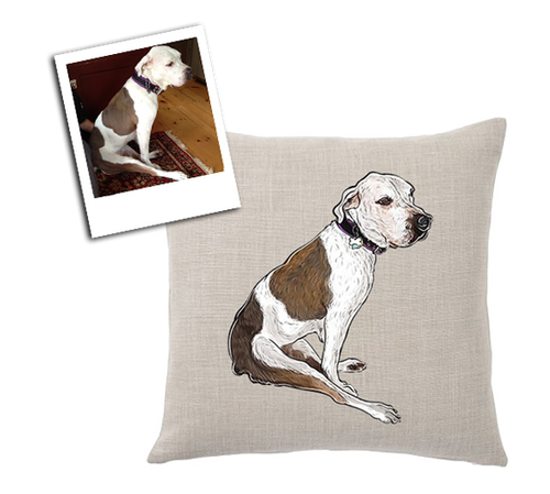 custom illustrated pet throw pillow