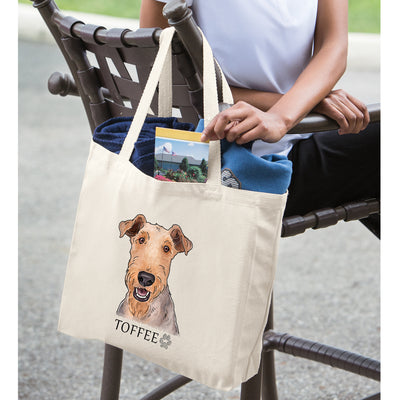 Airedale Terrier Portrait Design Extra Large Eco Friendly Reusable Cotton Canvas Tote Bag
