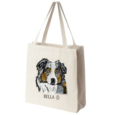 Blue Merle Australian Shepherd Color Portrait Design Extra Large Eco Friendly Reusable Cotton Canvas Tote Bag