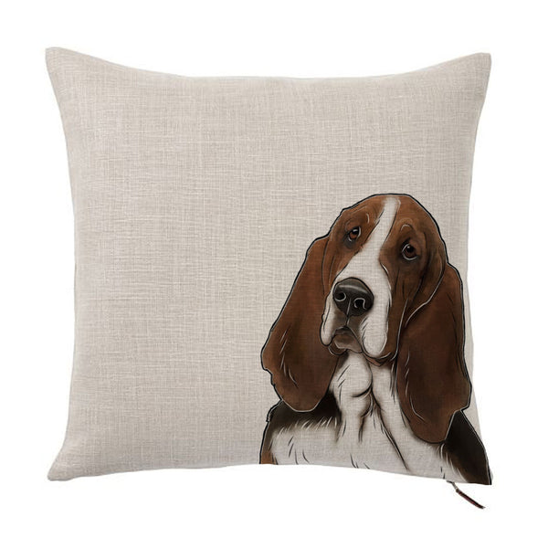 Basset Hound Dog Color Portrait Design Cotton Linen Square Decorative Throw Pillow Case Cushion Cover 18