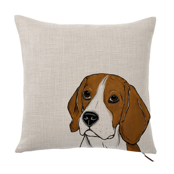 Beagle Dog Color Portrait Design Cotton Linen Square Decorative Throw Pillow Case Cushion Cover 18