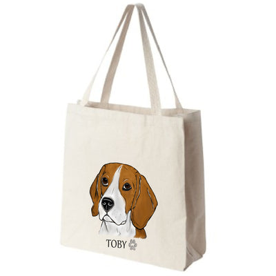 Beagle Dog Color Portrait Design Extra Large Eco Friendly Reusable Cotton Canvas Tote Bag