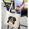 Bernese Mountain Dog Color Portrait Design Extra Large Eco Friendly Reusable Cotton Canvas Tote Bag