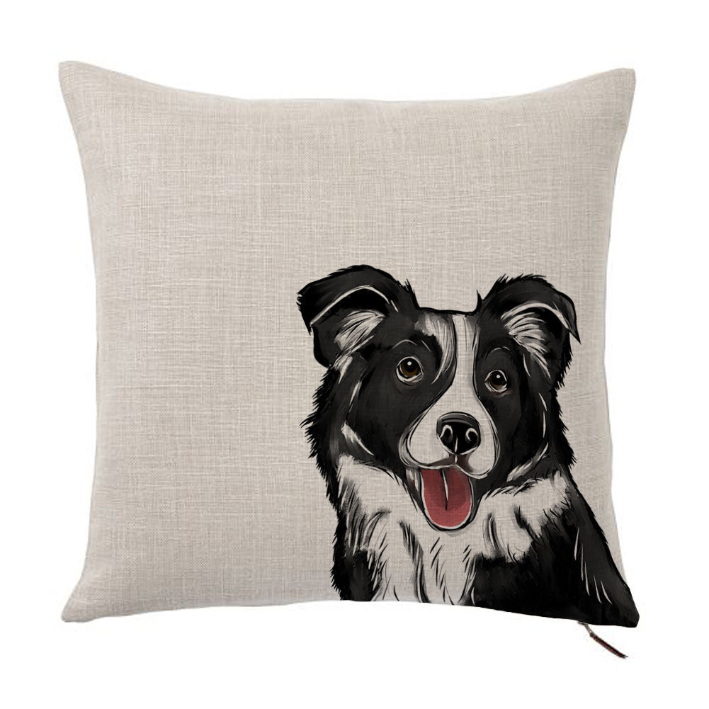 Border Collie Color Portrait Design Cotton Linen Square Decorative Throw Pillow Case Cushion Cover 18