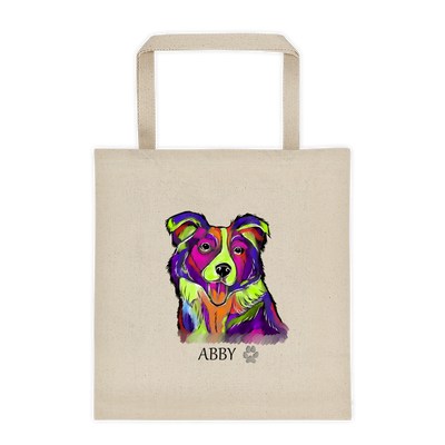 Graffiti Style Border Collie Extra Large Eco Friendly Reusable Cotton Canvas Tote Bag