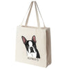 Black Boston Terrier Color Portrait Design Extra Large Eco Friendly Reusable Cotton Canvas Tote Bag