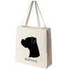 Boxer Dog Silhouette Portrait Design Extra Large Eco Friendly Reusable Cotton Canvas Tote Bag