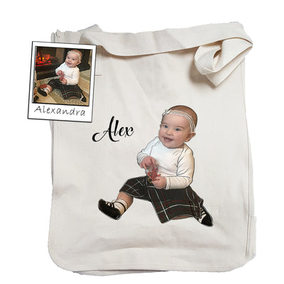 Custom Illustrated Baby Tote Bag by Tote Tails