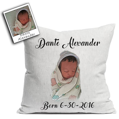 Custom Illustrated Baby Linen Throw Pillow by Tote Tails