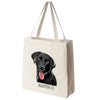 Black Labrador Retriever Color Portrait Design Extra Large Eco Friendly Reusable Cotton Canvas Tote Bag