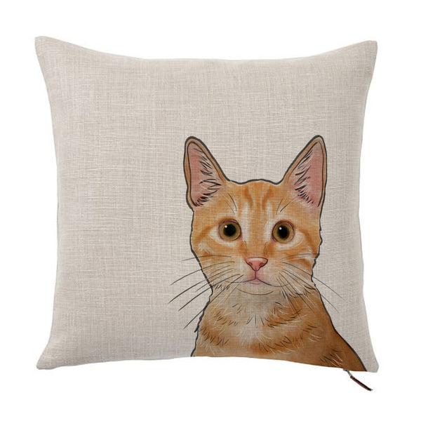 Orange Tabby Cat Color Portrait Design Cotton Linen Square Decorative Throw Pillow Case Cushion Cover 18