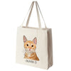 Orange Tabby Cat Color Portrait Design Extra Large Eco Friendly Reusable Cotton Canvas Tote Bag