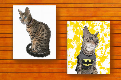 Custom Illustrated Pet Stretched Canvas Art by Tote Tails