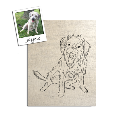 Custom Pet Outline Stretched Canvas Art by Tote Tails