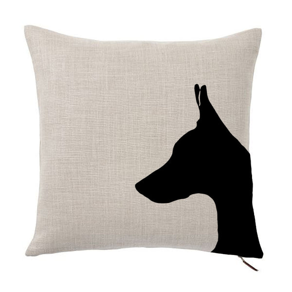 Doberman Pinscher Silhouette Portrait Design Cotton Linen Square Decorative Throw Pillow Case Cushion Cover 18