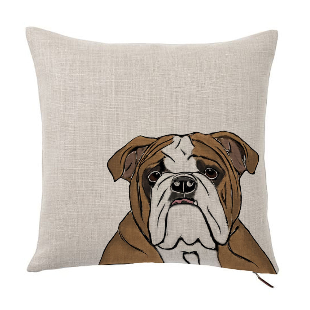 English Bulldog Color Portrait Design Cotton Linen Square Decorative Throw Pillow Case Cushion Cover 18