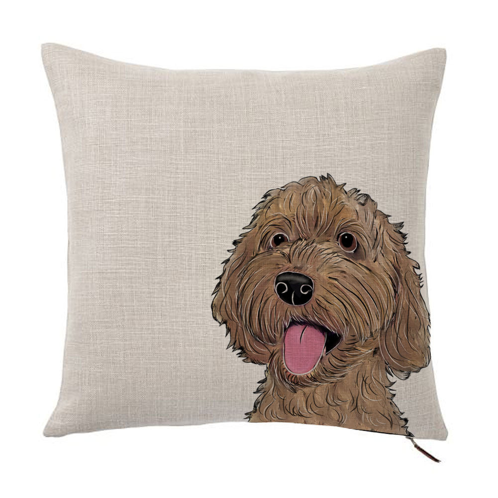 Labradoodle Color Portrait Design Cotton Linen Square Decorative Throw Pillow Case Cushion Cover 18