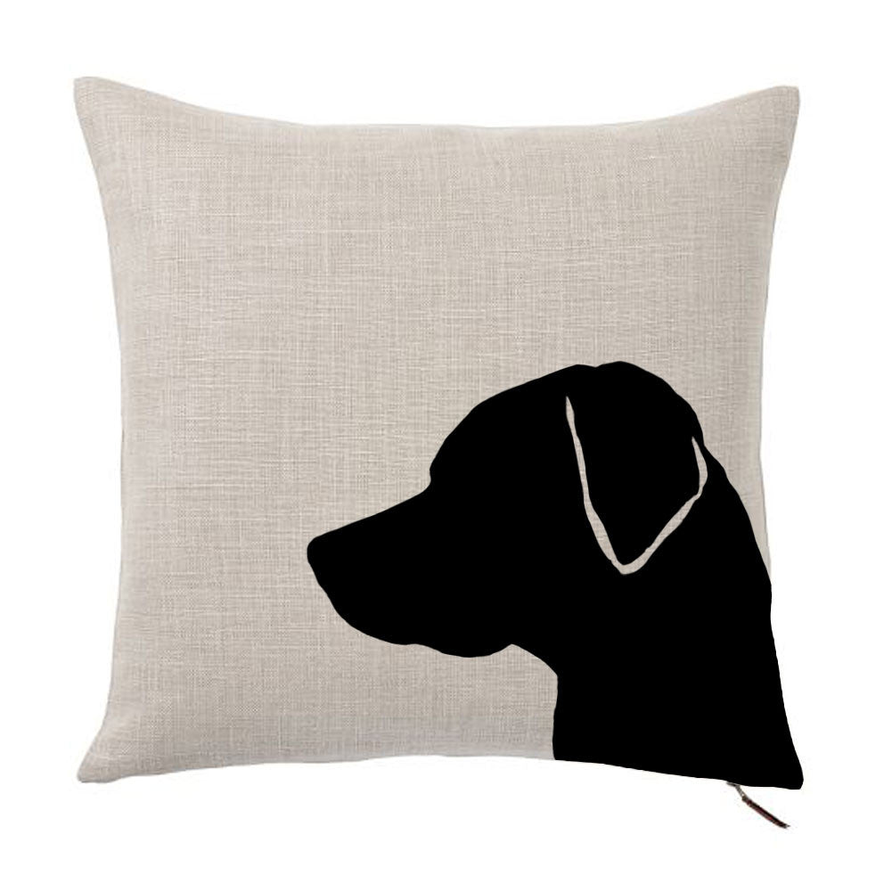 Labrador Retriever Silhouette Portrait Design Cotton Linen Square Decorative Throw Pillow Case Cushion Cover 18