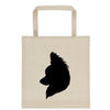 Papillon Silhouette Extra Large Eco Friendly Reusable Cotton Canvas Tote Bag