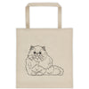 Persian Cat Outline Design Extra Large Eco Friendly Reusable Cotton Canvas Tote Bag