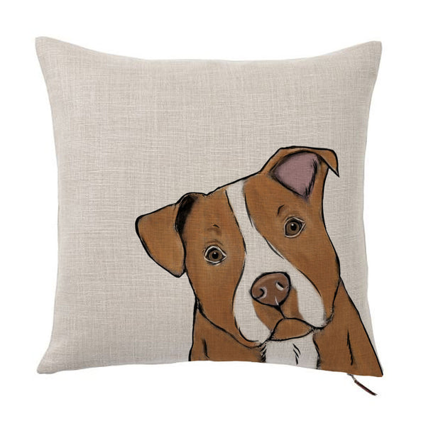 Red Nose Pit Bull Color Portrait Design Cotton Linen Square Decorative Throw Pillow Case Cushion Cover 18