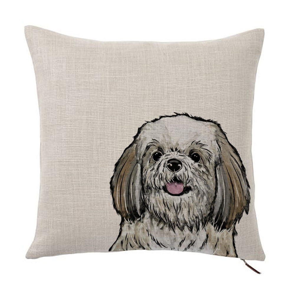 Brown And White Shih Tzu Color Portrait Design Throw Pillow Cover