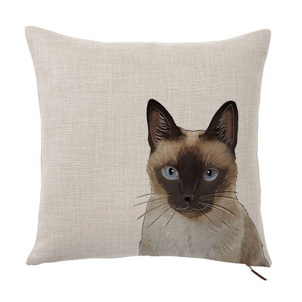 Siamese Cat Color Portrait Design Cotton Linen Square Decorative Throw Pillow Case Cushion Cover 18