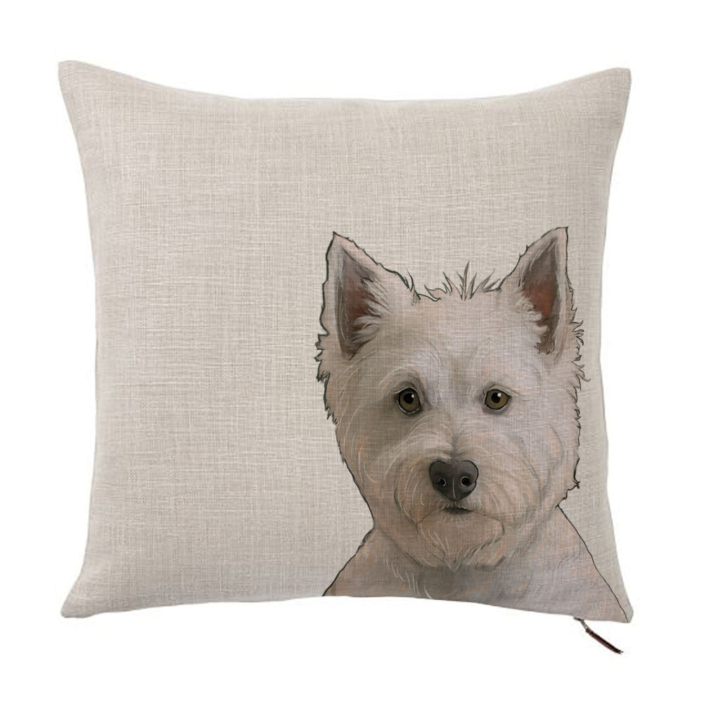 West Highland Terrier Color Portrait Design Cotton Linen Square Decorative Throw Pillow Case Cushion Cover 18