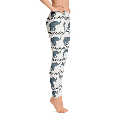 Blue Aztec Elephant Pattern Leggings