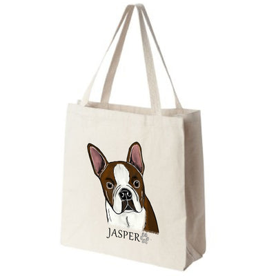 Brown Boston Terrier Extra Large Eco Friendly Reusable Cotton Canvas Tote Bag