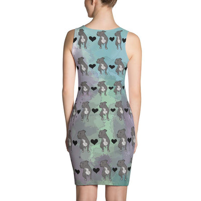 Pit Bull Watercolor Pattern Sublimation Cut & Sew Dress