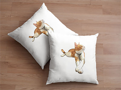 Custom Illustrated Pet Linen Throw Pillow by Tote Tails