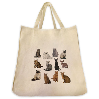 Re-usable Tote Bag - 12 Cute Cat Breed Full Body Color Design Extra Large Eco Friendly Reusable Cotton Canvas Tote Bag
