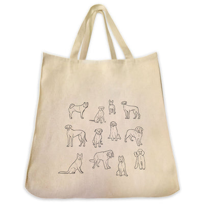 Re-usable Tote Bag - 12 Cute Dog Breed Full Body Outline Designs Extra Large Eco Friendly Reusable Cotton Canvas Tote Bag