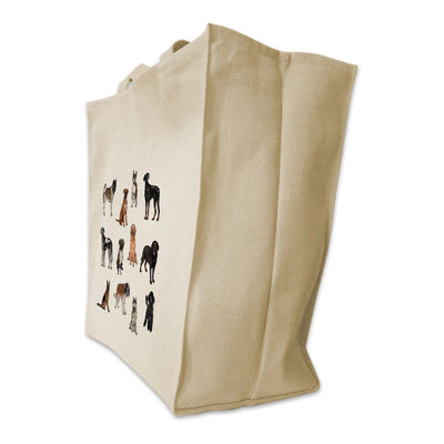 Re-usable Tote Bag - 12 Dog Breeds Full Body Color Design Extra Large Eco Friendly Reusable Cotton Canvas Tote Bag