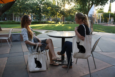 Re-usable Tote Bag - Abyssinian Cat Full Body Silhouette Design Extra Large Eco Friendly Reusable Cotton Canvas Tote Bag
