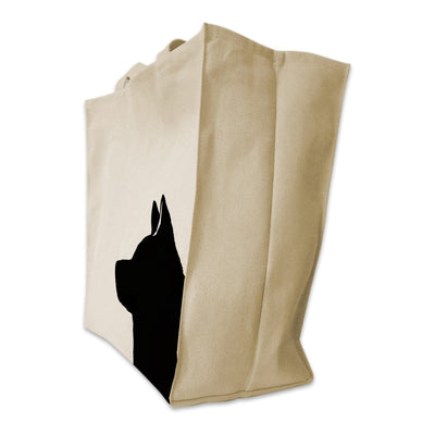 Re-usable Tote Bag - Akita Portrait Silhouette Design Extra Large Eco Friendly Reusable Cotton Canvas Tote Bag