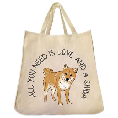 Re-usable Tote Bag - All You Need Is Love And A Shiba Inu Design Extra Large Eco Friendly Reusable Cotton Canvas Tote Bag