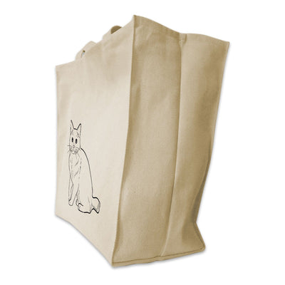 Re-usable Tote Bag - American Bobtail Cat Full Body Outline Design Extra Large Eco Friendly Reusable Cotton Canvas Tote Bag