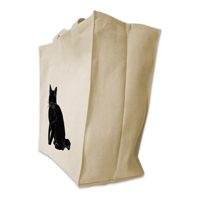 Re-usable Tote Bag - American Bobtail Cat Full Body Silhouette Design Extra Large Eco Friendly Reusable Cotton Canvas Tote Bag