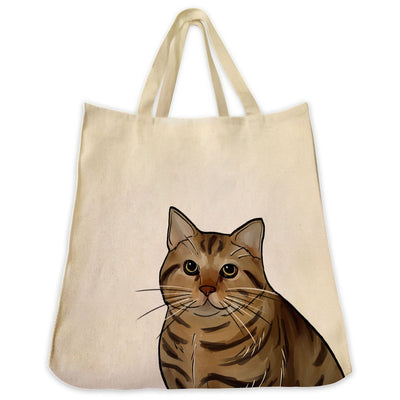 Re-usable Tote Bag - American Bobtail Cat Portrait Color Design Extra Large Eco Friendly Reusable Cotton Canvas Tote Bag