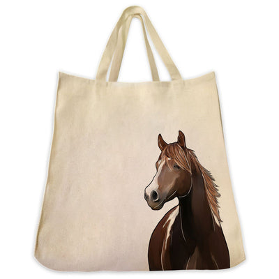 Re-usable Tote Bag - American Paint Bay Horse Portrait Color Design Extra Large Eco Friendly Reusable Cotton Canvas Tote Bag